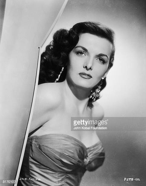 e6bfe06c23274 American actress Jane Russell wearing a strapless evening dress
