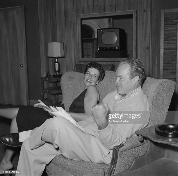 American actress Jane Russell with actor and comedian Bob Hope during an appearance on 'The Bob Hope Show' May 1955