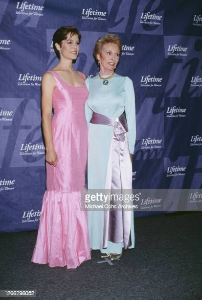 American actress Janet Leigh and her daughter Kelly Curtis backstage at a Lifetime Television Network Applauds the Fight Against Breast Cancer event...