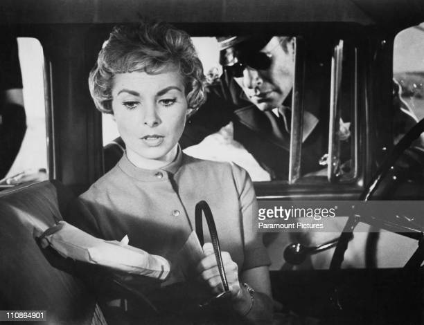 American actress Janet Leigh as Marion Crane with Mort Mills as a highway patrolman in a scene from 'Psycho' directed by Alfred Hitchcock 1960