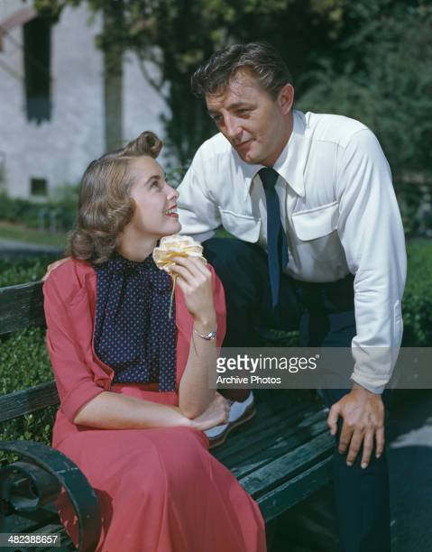 American actress Janet Leigh as she appears with actor Robert Mitchum in the film 'Holiday Affair' 1949