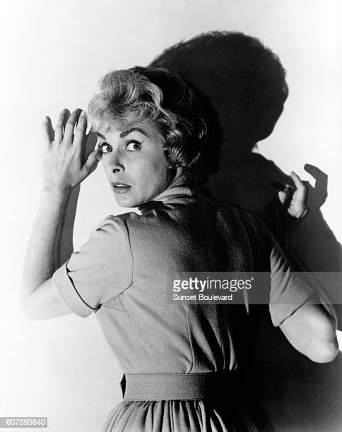 American actress Janet Leigh on the set of Psycho, directed by Alfred Hitchcock.