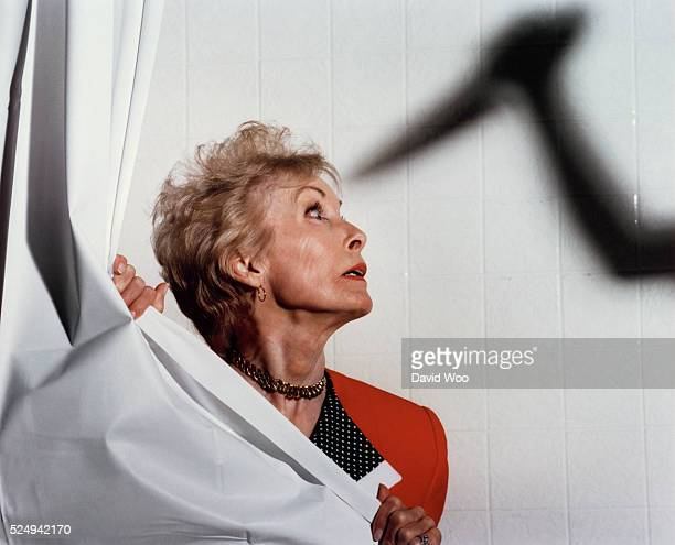 American actress Janet Leigh replays the famous scene of the movie Psycho by British director screenwriter and producer Alfred Hitchcock