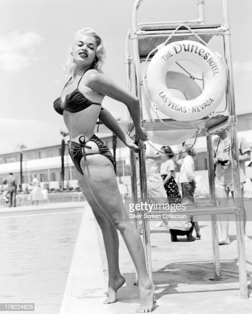 American actress Jayne Mansfield wearing a bikini by the pool at the Dunes Hotel Las Vegas Nevada circa 1955