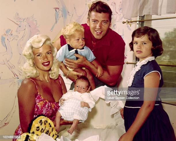 American actress Jayne Mansfield with her husband Mickey Hargitay, and children Jayne Marie , Miklos and baby Zoltan, 1960.
