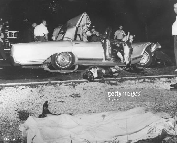 American actress Jayne Mansfield's wrecked car after the fatal accident in which she and two others died on June 29 1967 while driving a road near...
