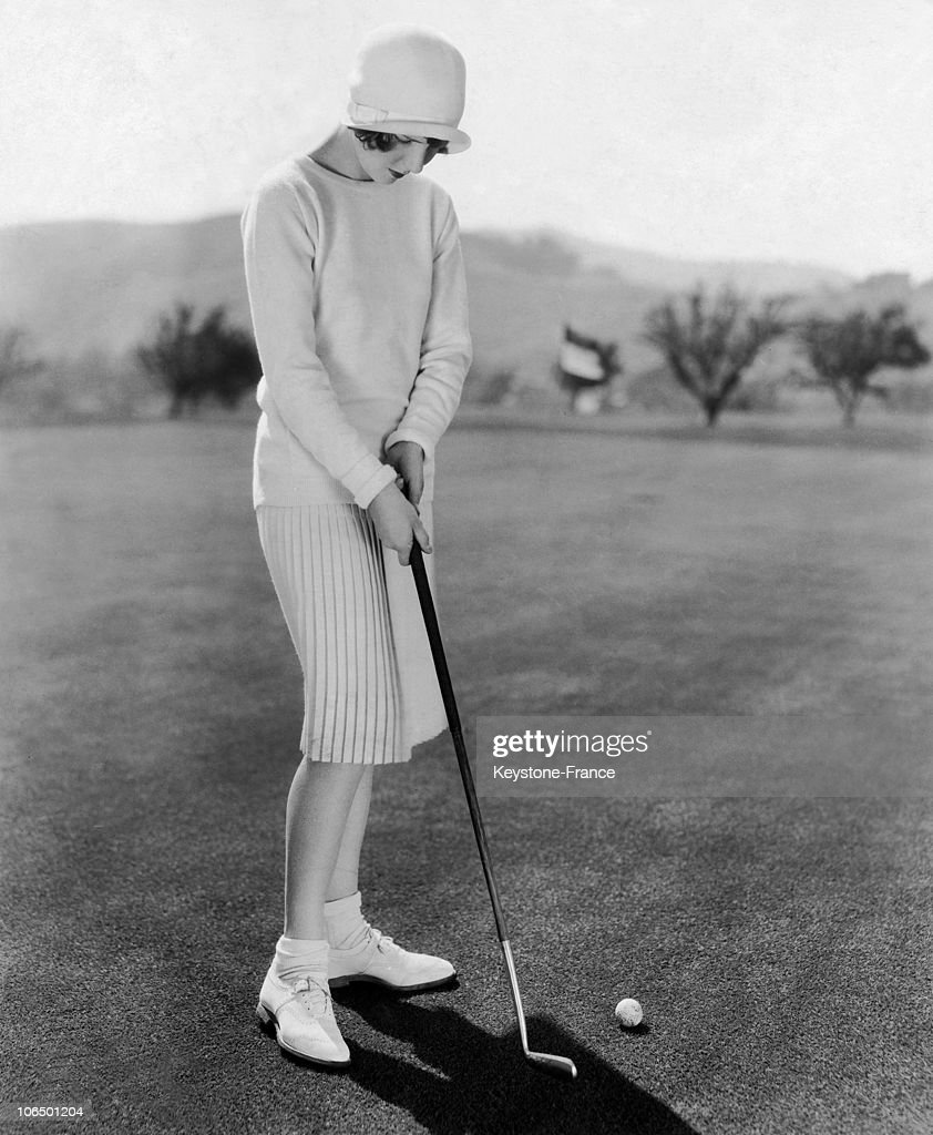 American Actress, Jean Arthur Playing Golf. 20'S : News Photo