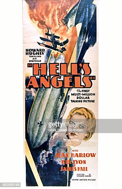 American actress Jean Harlow is depicted on a poster for the United Artists war film 'Hell's Angels' directed and produced by Howard Hughes 1930