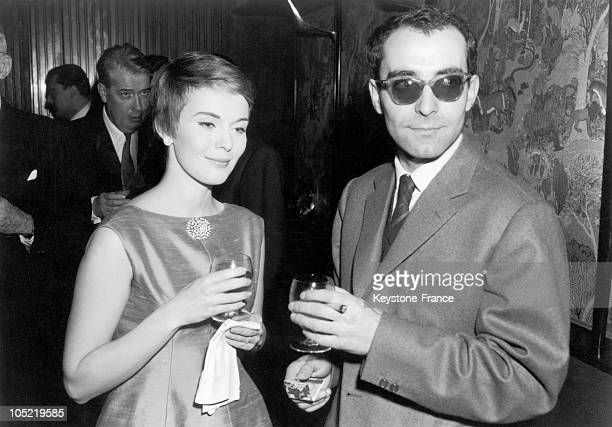 American Actress Jean Seberg And French FilmMaker JeanLuc Godard Having Drinks During The Cocktail Party Held At The Elysee Matignon In Honor Of The...