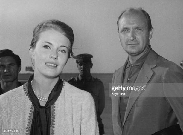American actress Jean Seberg and Italian film director Giuseppe Bennati arrive at Rome's Fiumicino Airport, Italy, 23rd September 1961. They have...