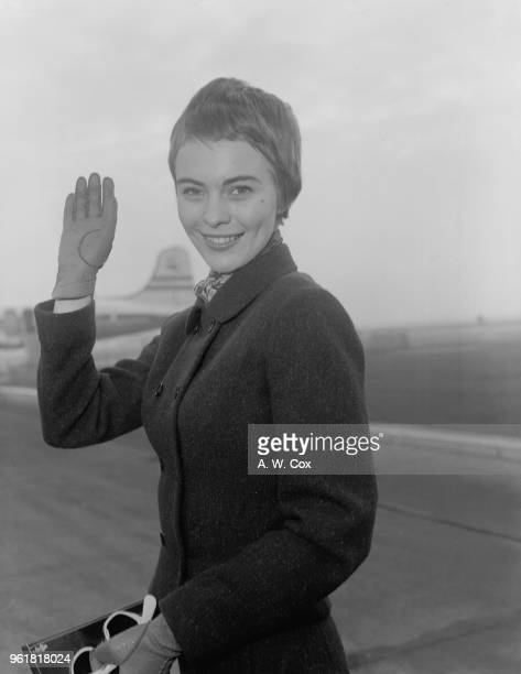 American actress Jean Seberg arrives at London Airport to star in the Otto Preminger film 'Saint Joan', 15th November 1956.
