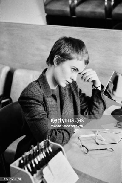American actress Jean Seberg at an optician's in her home town of Marshalltown, Iowa, March 1957. She has just returned to the USA after shooting her...