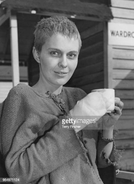 American actress Jean Seberg at Shepperton Studios, UK, during the filming of George Bernard Shaw's play 'Saint Joan', 22nd February 1957. Her hand...