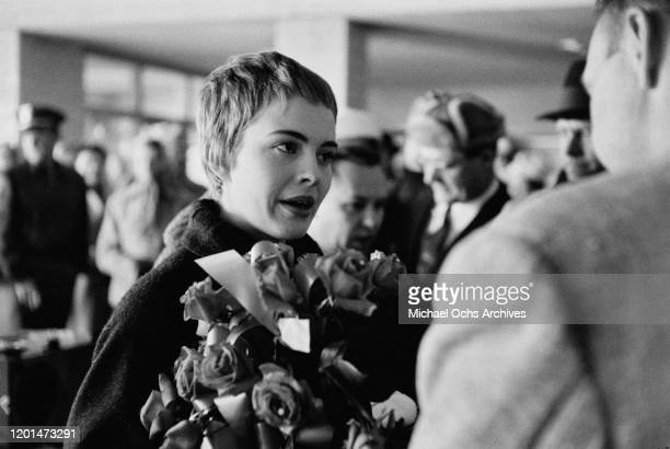 American actress Jean Seberg returns to her home town of Marshalltown Iowa 26th March 1957 Seberg has just returned to the USA after shooting her...