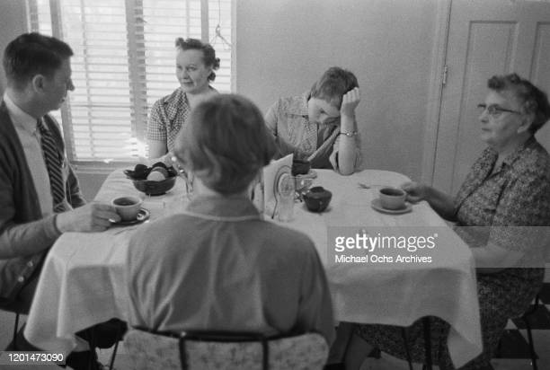 American actress Jean Seberg with her family at their home in Marshalltown Iowa March 1957 With her are her father Edward mother Dorothy sister Mary...