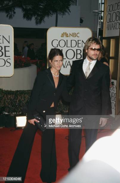 American actress Jennifer Aniston and American actor Brad Pitt at the Golden Globe Awards at the Beverly Hilton Beverly Hills California US 20th...