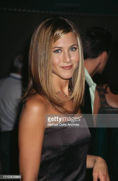 """American actress Jennifer Aniston attends the """"Friends Helping Friends"""" Gala Ball in Beverly Hills, California, US, 22nd September 1997."""