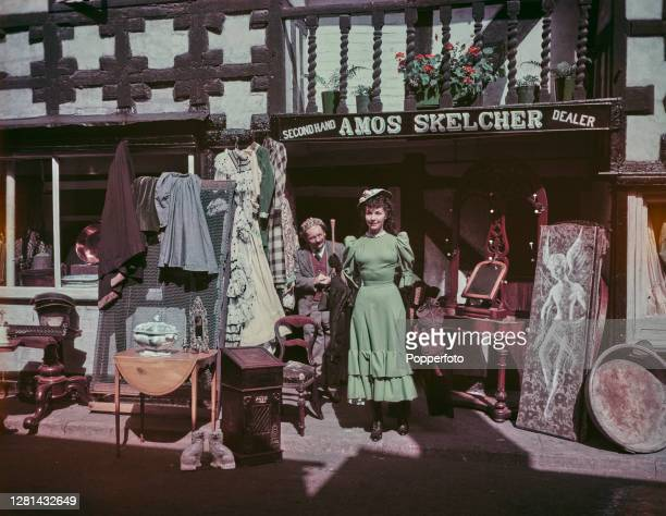American actress Jennifer Jones dressed in period costume to play the character of Hazel Woodus during location shooting of the film 'Gone to Earth'...