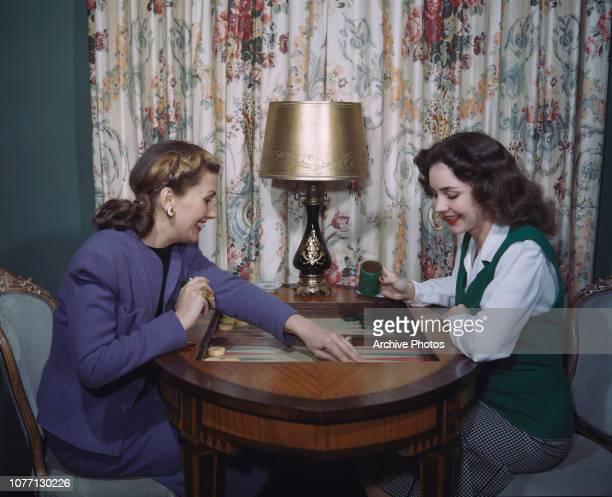 American actress Jennifer Jones playing backgammon circa 1950