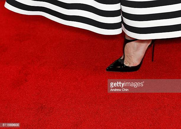 """American actress Jennifer Morrison, shoe detail, attends the 100th episode celebration of """"Once Upon A Time"""" at Storybrooke Cannery on February 20,..."""