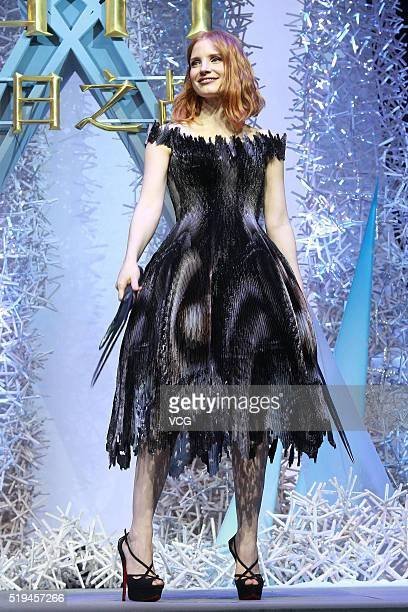 American actress Jessica Chastain attends the press conference of French director Cedric NicolasTroyan's film The Huntsman Winter's War on April 6...
