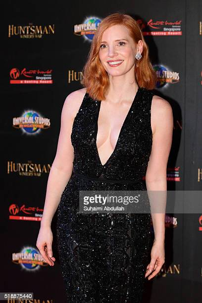 American actress Jessica Chastain poses for a photo during The Huntsman Winter's War Premiere at Universal Studios Singapore on April 3 2016 in...