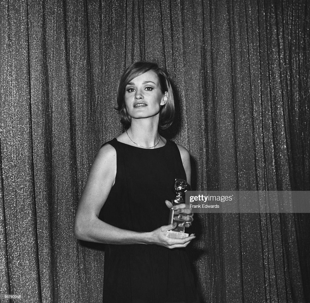 American actress Jessica Lange at the 34th Golden Globe Awards, held at the Beverly Hilton Hotel in Beverly Hills, 29th January 1977. She has just won the Best Acting Debut in a Motion Picture (Female) award for her role in 'King Kong'.
