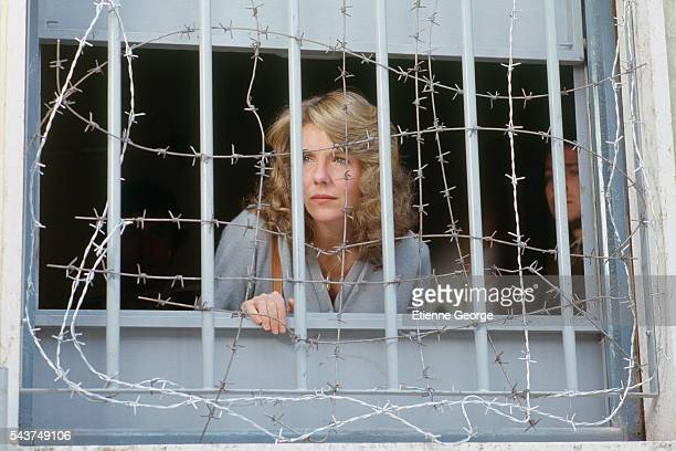 American actress Jill Clayburgh on the set of the film Hanna K directed by CostaGavras