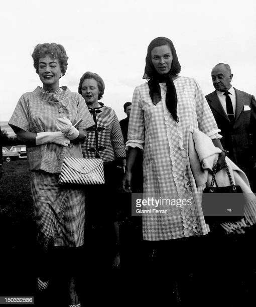 American actress Joan Crawford in Alcobendas with the Italian actress Lucia Bose, 29th May 1962, Alcobendas, Spain.