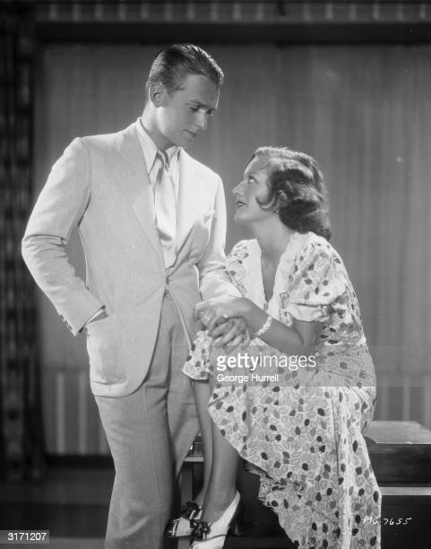 American actress Joan Crawford with her second husband, the actor Douglas Fairbanks Jr. .