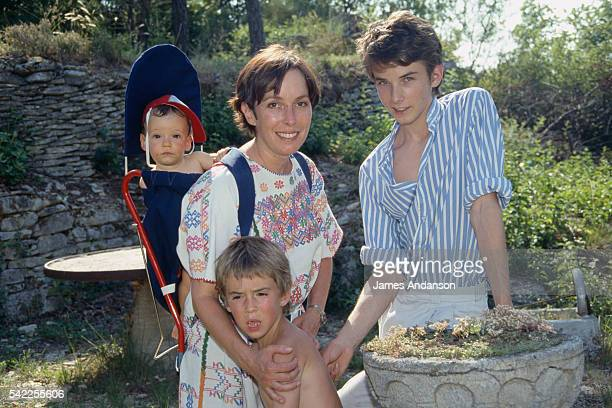 American actress Josephine Chaplin daughter of Charlie and Oona Chaplin with her children Charly Julien and Arthur in their Luberon country house...