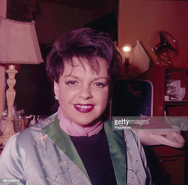 1968 American actress Judy Garland posed backstage after a performance in London in 1968