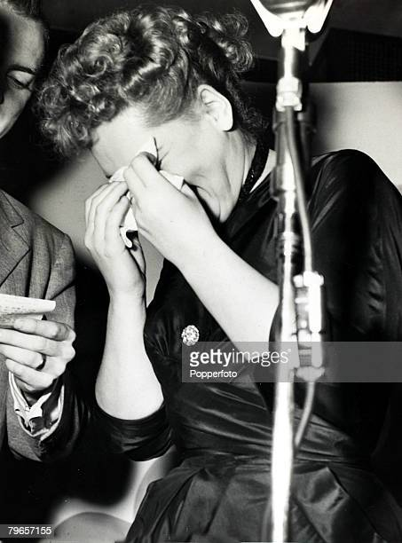 American actress Judy Holliday bursts into tears after winning the Academy Award for Best Actress at the 23rd Annual Academy Awards 29th March 1951...