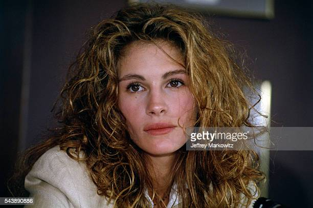 American actress Julia Roberts attends a press conference for the release of the movie The Pelican Brief based on the book by John Grisham and...