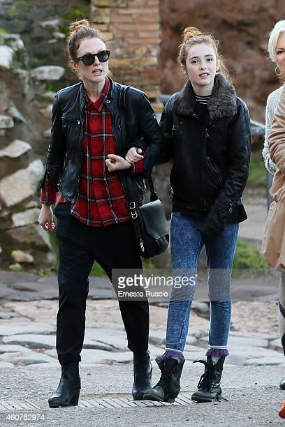 American actress Julianne Moore with her daughter Liv Freundlich are sighted on a Christmas holiday at Fori Imperiali in Rome on December 21 2014 in...
