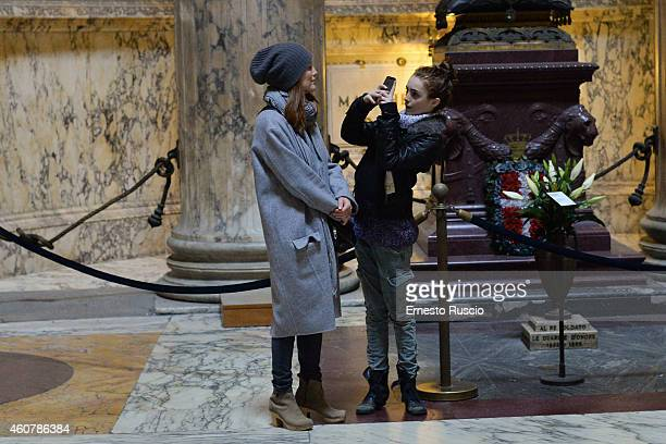 American actress Julianne Moore with her daughter Liv Freundlich are sighted on a Christmas holiday at Pantheon on December 20 2014 in Rome Italy