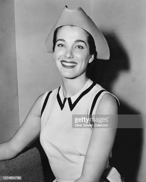 American actress Julie Adams wearing a tricornstyle hat 1954