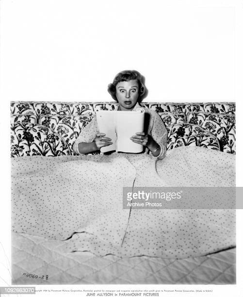 American actress June Allyson relaxes at home in California after completing filming on the Paramount Pictures production 'Strategic Air Command' 1954