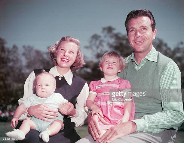 American actress June Allyson with her husband actor Dick Powell their baby son Dick Powell Jr and Pamela Powell Dick's daughter from his earlier...