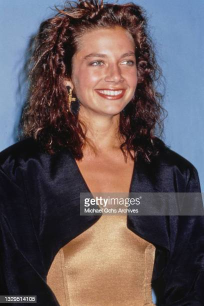 American actress Justine Bateman, wearing a black jacket over a gold outfit, attends 39th Annual Primetime Emmy Awards, held at the Pasadena Civic...