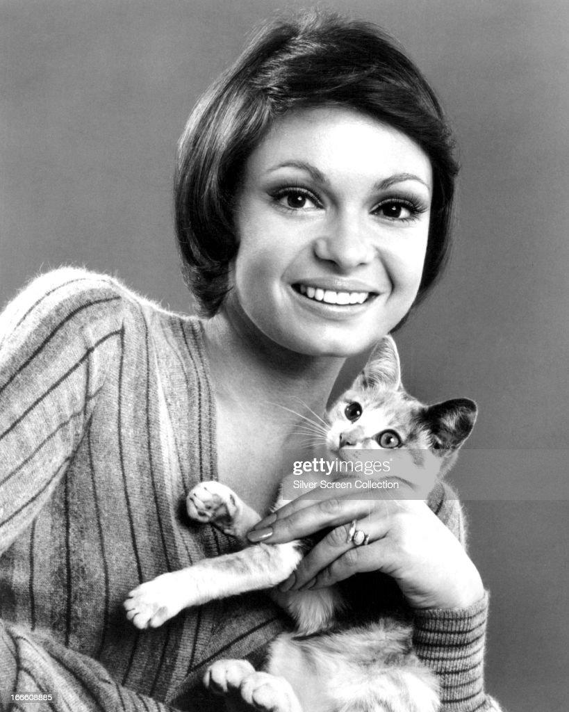 American Actress Karen Valentine, Holding A Kitten, Circa 1975.