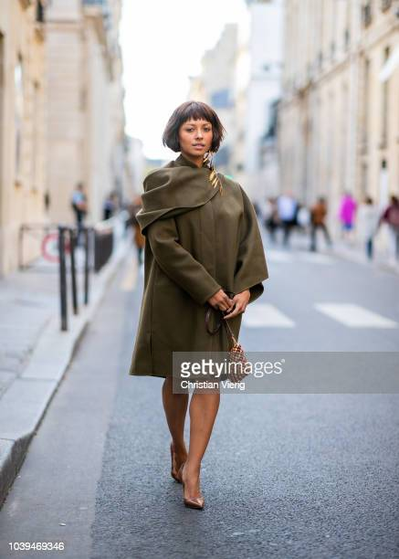 A guest is seen on the street during Paris Fashion Week SS19 wearing Jacquemus on September 24 2018 in Paris France