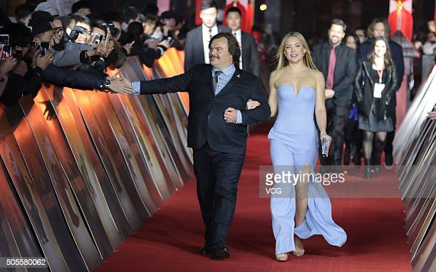 American actress Kate Hudson and actor Jack Black attend premiere of 'Kung Fu Panda 3' directed by Jennifer Yuh of South Korea at Shanghai New World...