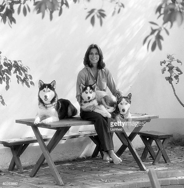 American actress Kate Jackson best known for her role in 'Charlie's Angels' photographed with her husky dogs in the garden of her home in Beverly...