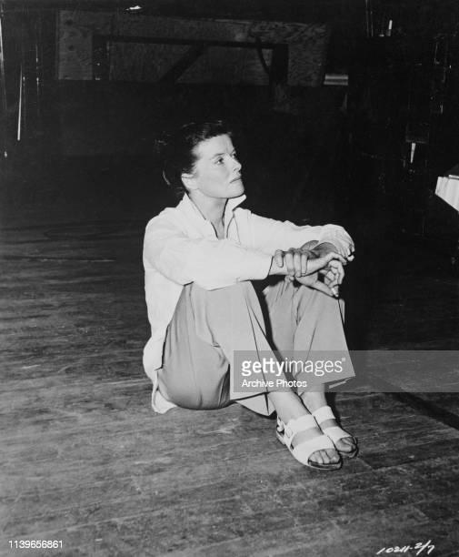 American actress Katharine Hepburn during the filming of 'The Rainmaker', circa 1956.