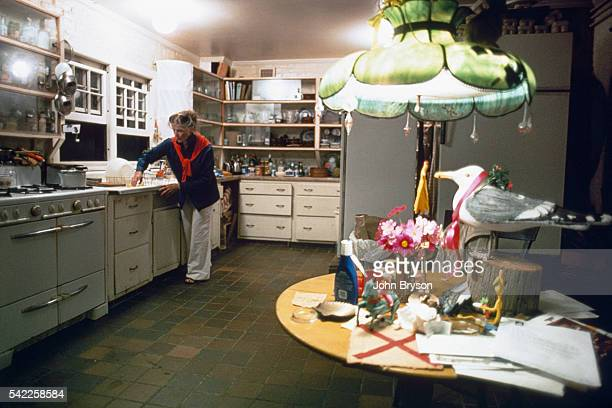American actress Katharine Hepburn in the kitchen of her house in Fenwick Connecticut