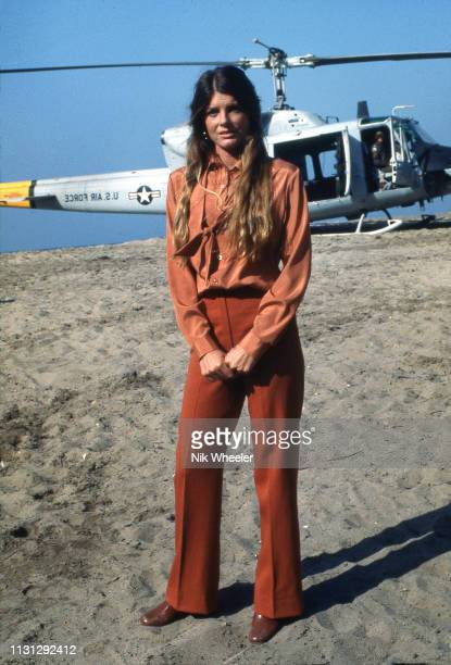 American actress Katherine Ross stands on location of film set for disaster movie The Swarm directed by Irwin Allen in Los Angeles circa 1977