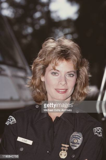 American actress Kathryn Harrold as Los Angeles police officer Jenny Loud in the ABC television crime drama 'MacGruder and Loud' USA 1985