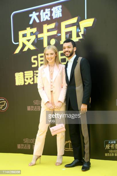 American actress Kathryn Newton and American actor Justice Smith attend a press conference of film 'Detective Pikachu' on April 21 2019 in Beijing...