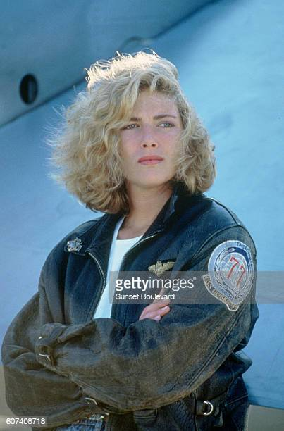 American actress Kelly McGillis on the set of Top Gun directed by Tony Scott